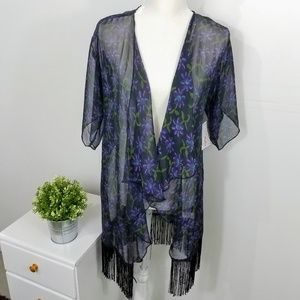 Lularoe Purple Floral Fringe Monroe Duster Small